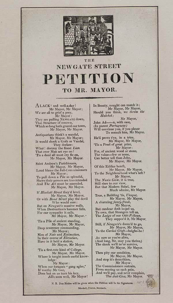 (1) Newgate Street petition to Mr Mayor
