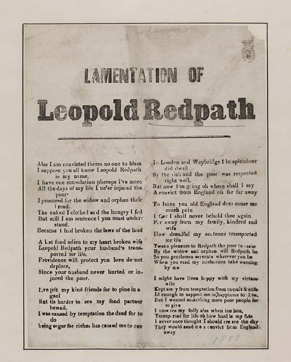 (2) Lamentation of Leopold Redpath
