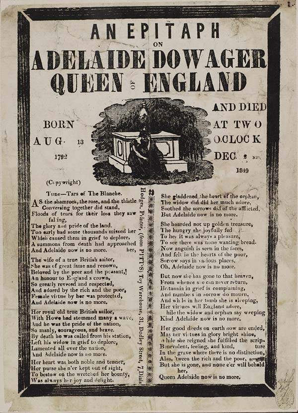 (13) Epitaph on Adelaide, Dowager Queen of England