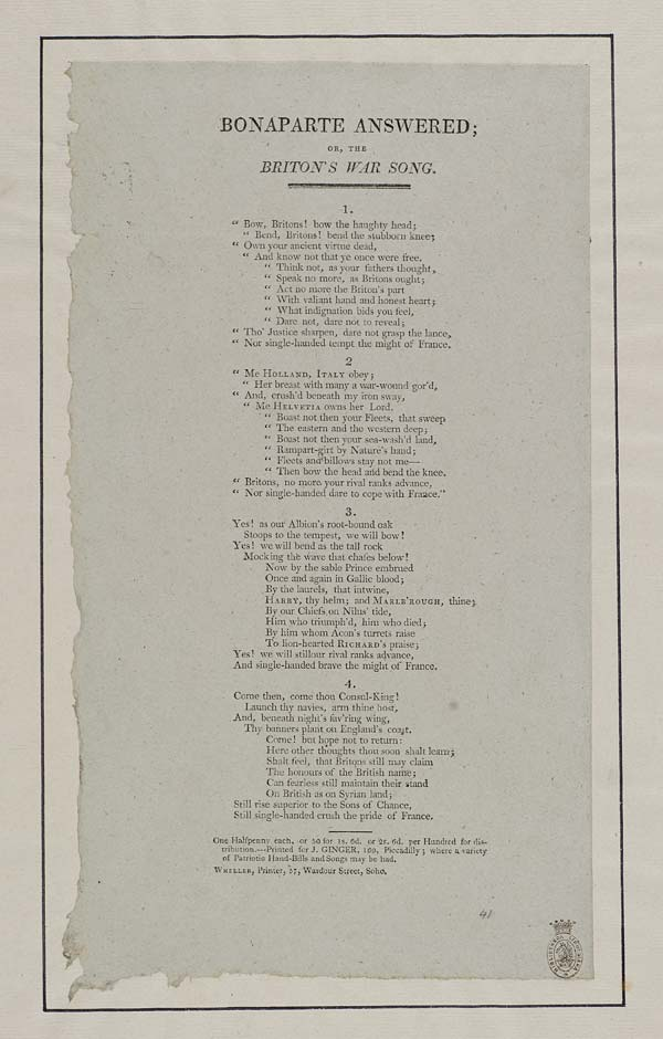 (7) Bonaparte answered; or, the Briton's war song