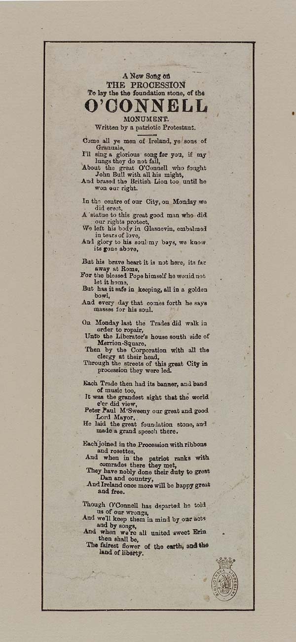 (24) New song on the procession to lay the the [sic] foundation stone, of the O'Connell monument