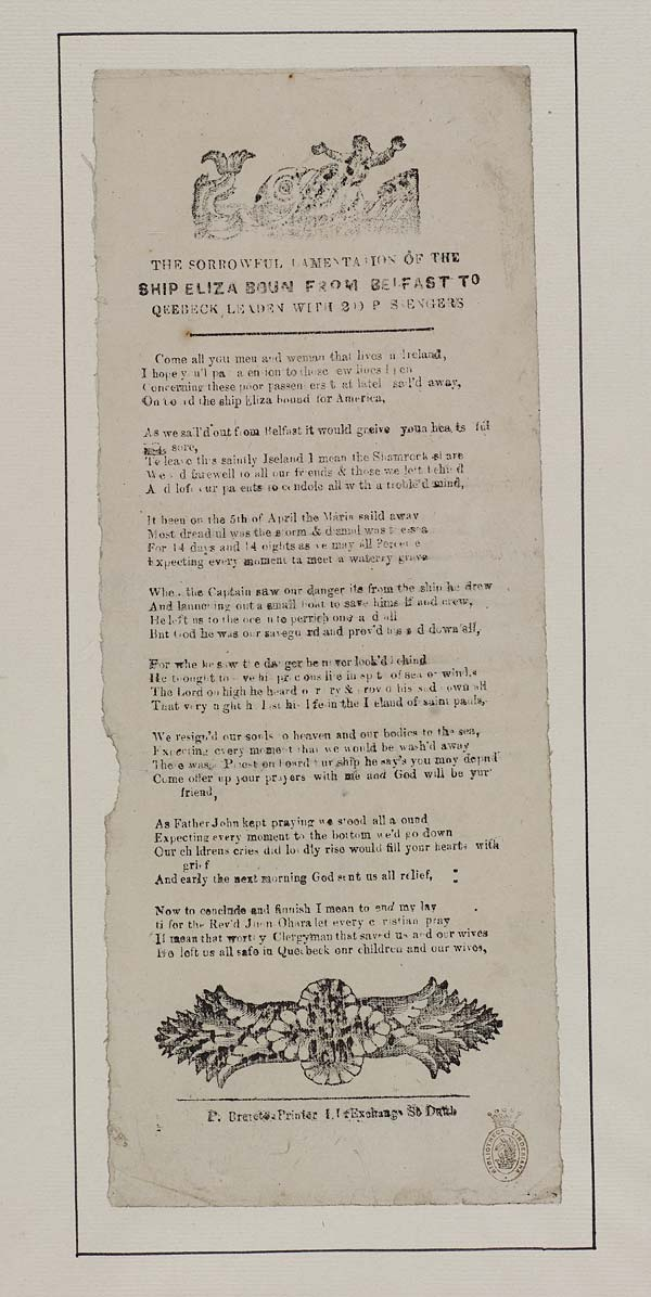 (7) Sorrowful lamentation of Ship Eliza boun [sic] from Belfast to Qeebeck [sic] leaden [sic] with 200 passengers