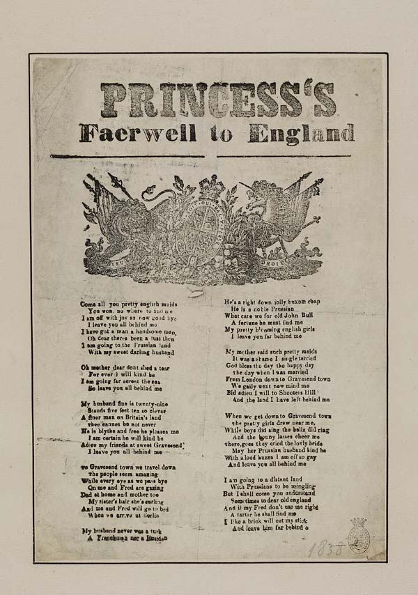 (29) Princess's faerwell [sic] to England