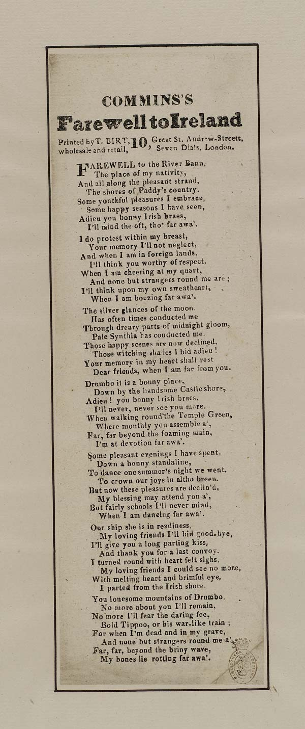 (18) Commins's farewell to Ireland