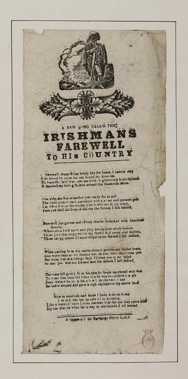 (22) New song call'd the Irishmans farewell to his country