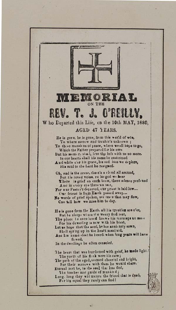 (22) Memorial on the Rev T J O'Reilly