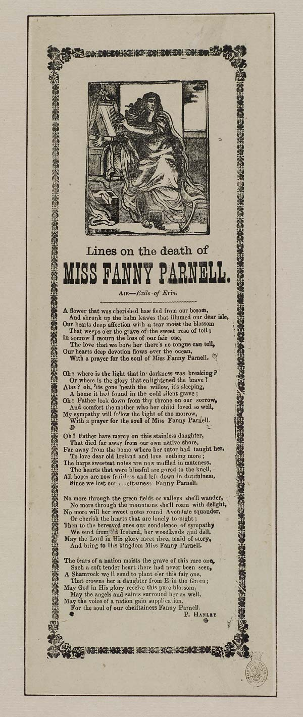 (6) Lines on the death of Miss Fanny Parnell