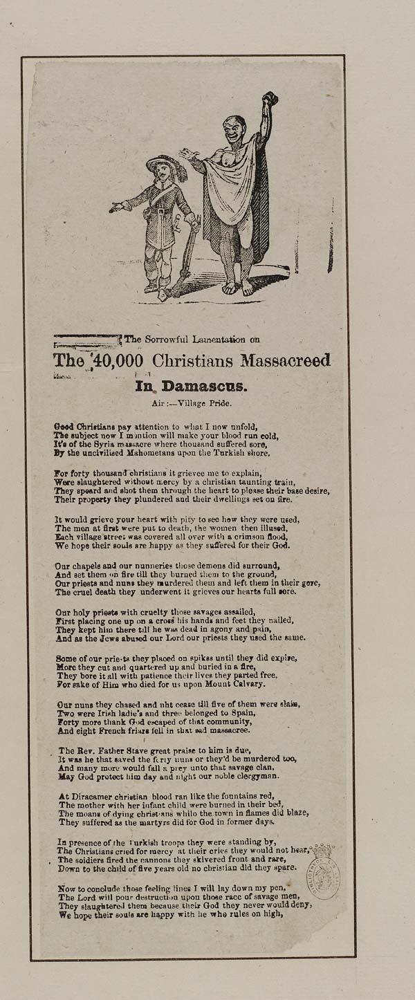 (27) Sorrowful lamentation on the 40,000 Christians massacreed [sic] in Damascus