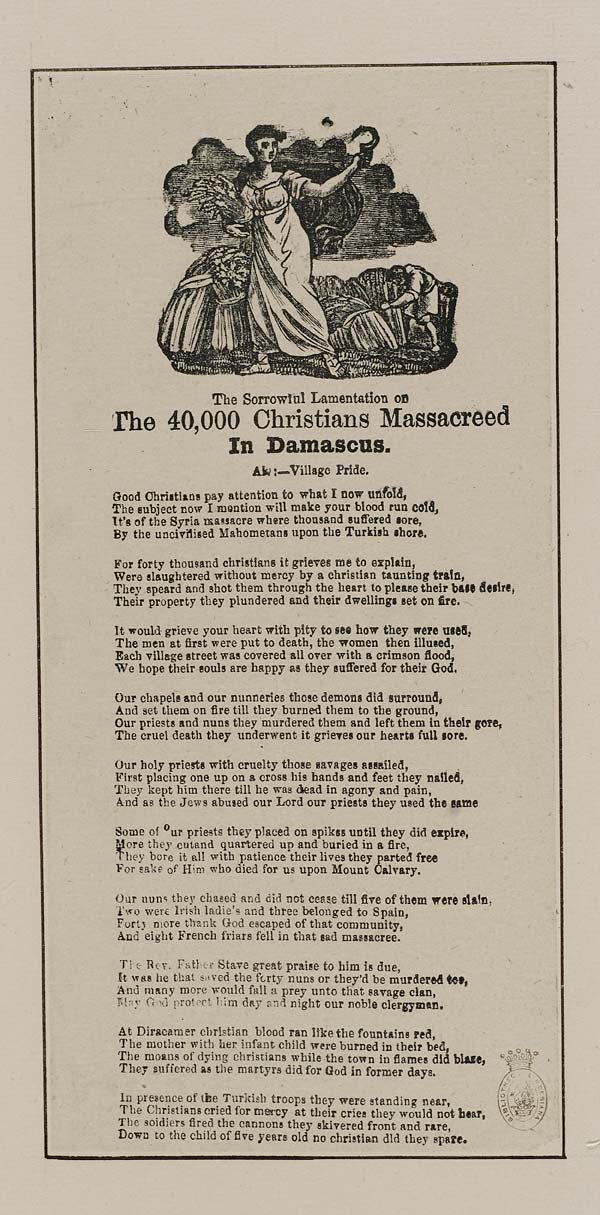 (28) Sorrowful lamentation on the 40,000 Christians massacreed [sic] in Damascus