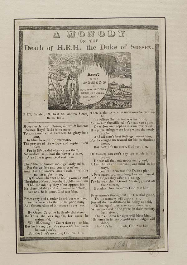 (39) Monody on the death of H R H the Duke of Sussex