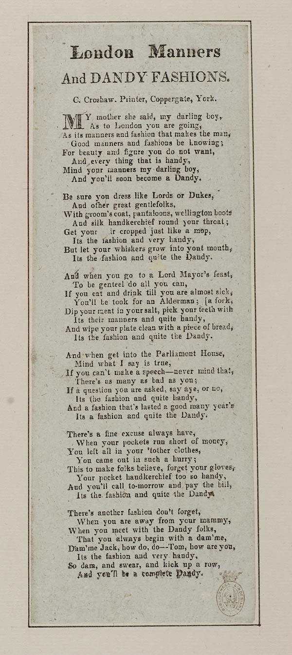 (16) London manners and dandy fashions