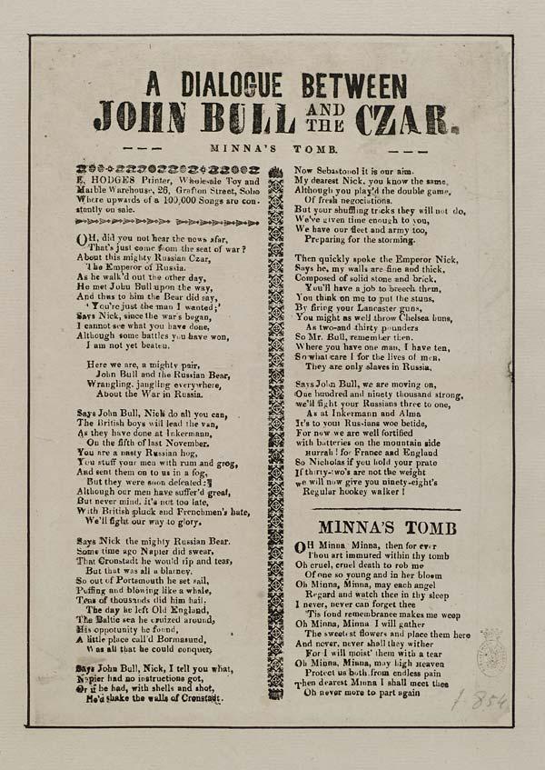 (37) Dialogue between John Bull and the czar
