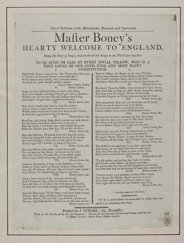 (50) Master Boney's hearty welcome to England