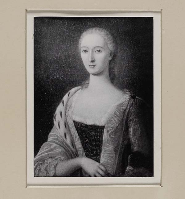 (152) Blaikie.SNPG.16.19 A - Margaret, Lady Ogilvy Portrait of young woman from waist up, fur robe on one side of arm