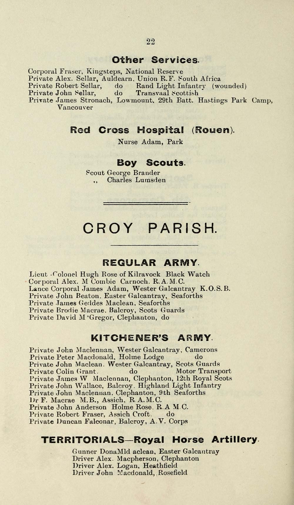 24) Page 22 - CROY PARISH - Places > 1915 - Roll of honour of ...