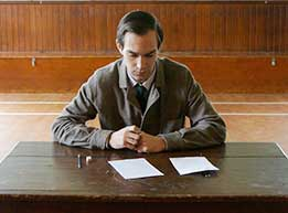 Exam student at desk