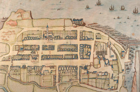 Illustrated plan of St Andrews showing links, town, harbour and coast