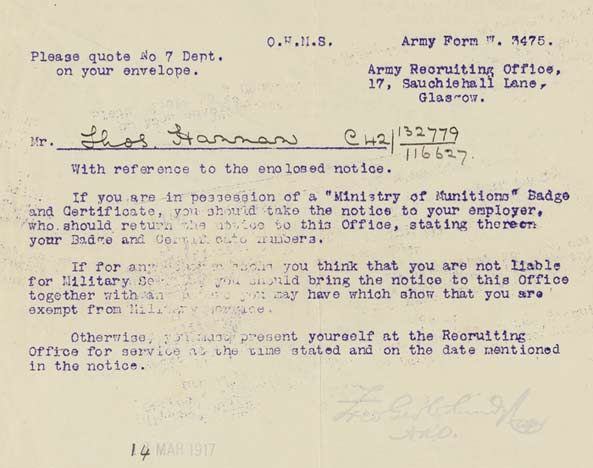 Army Form W3475 - Experiences Of The Great War - National Library