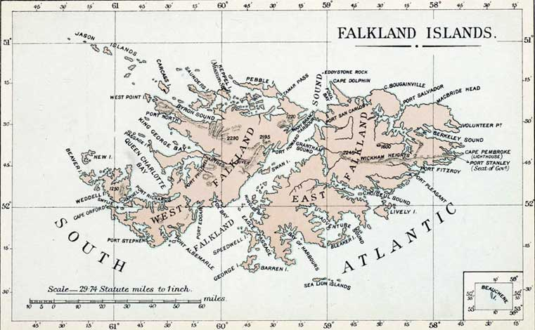 Map Of The Falkland Islands From The Colonial Office List - Falkland islands map