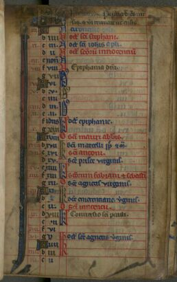 Calendar of the Book of Hours : January
