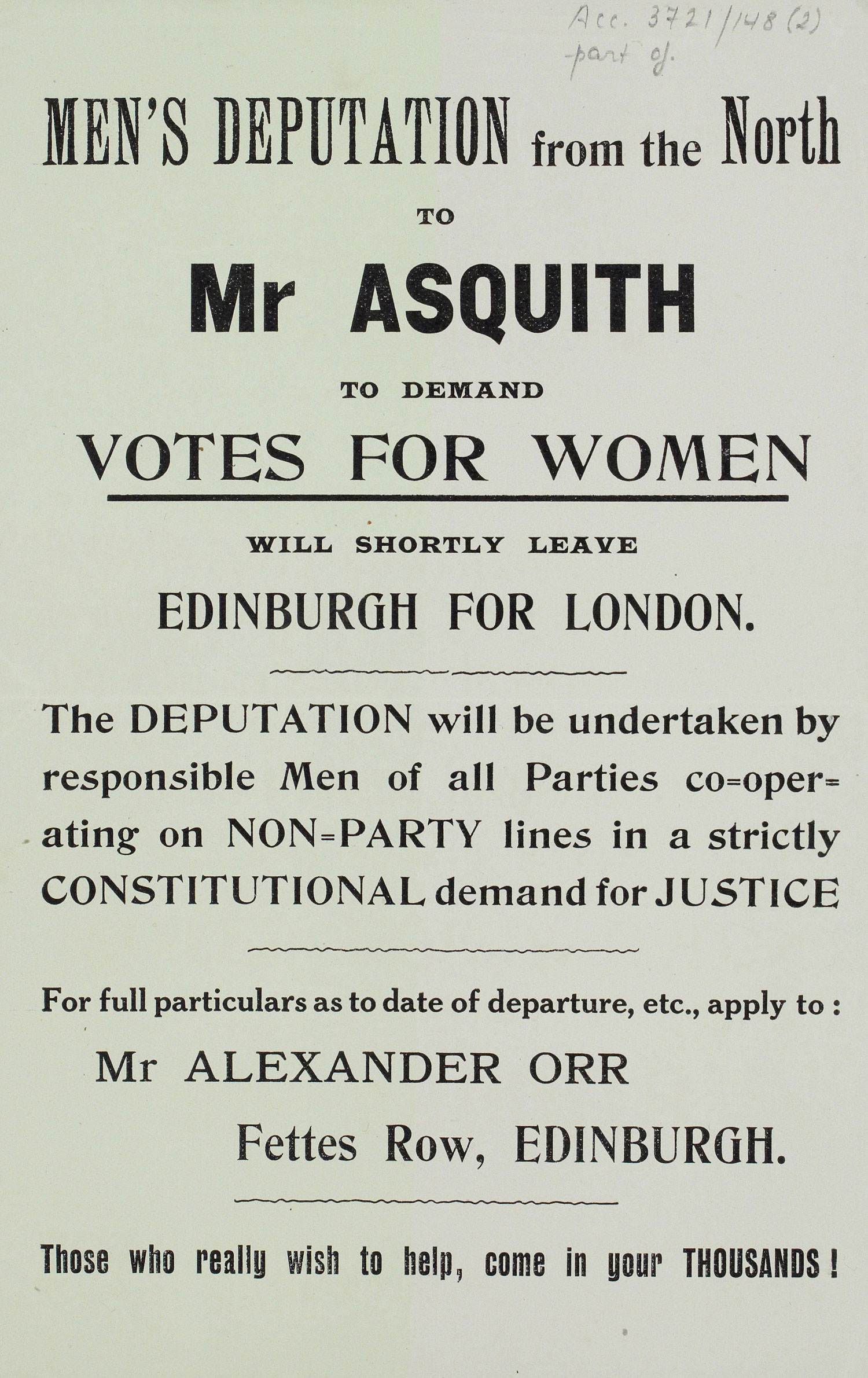 Printed poster, men's pro-suffrage deputation from Edinburgh to London