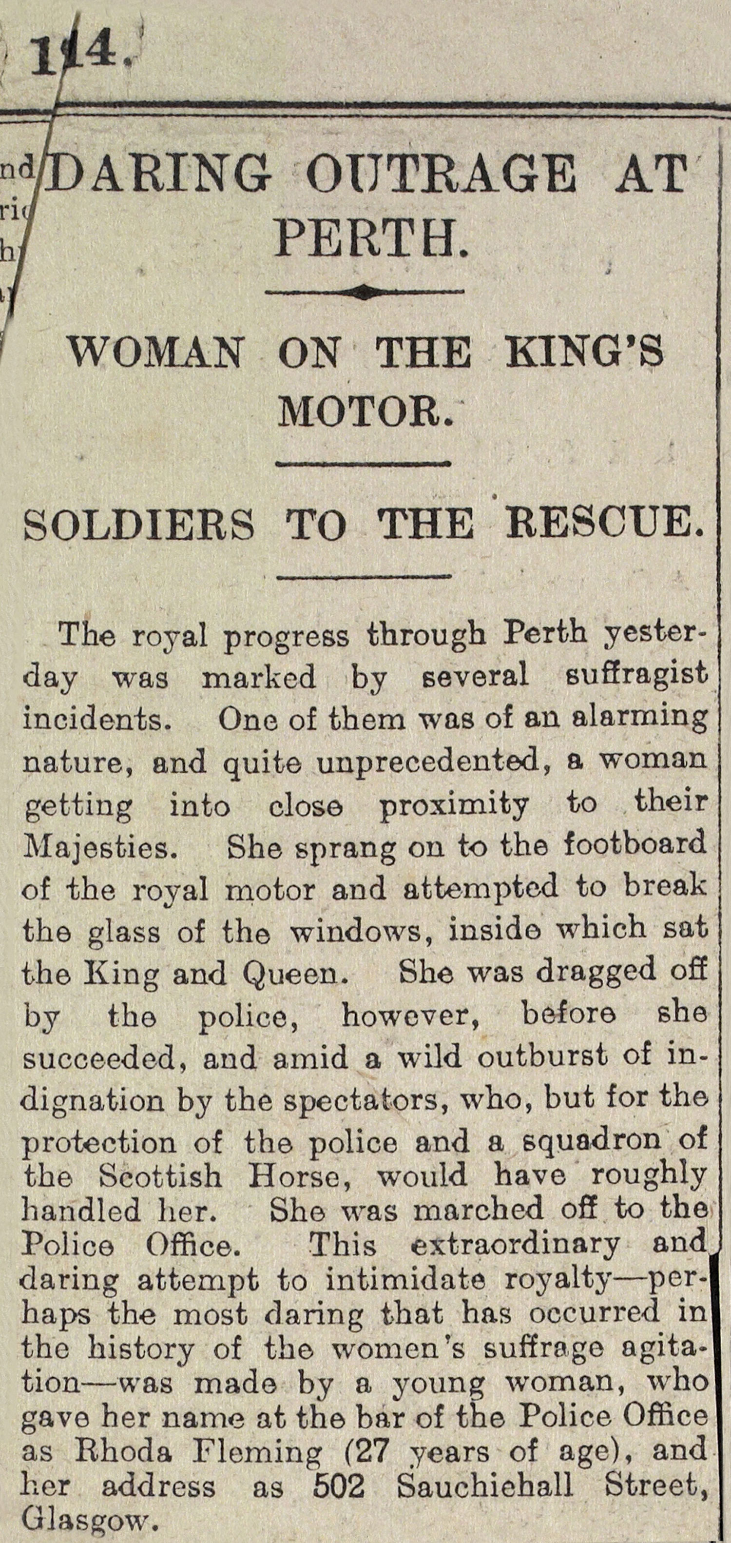 Newspaper report of protest during royal visit to Perth, 1914