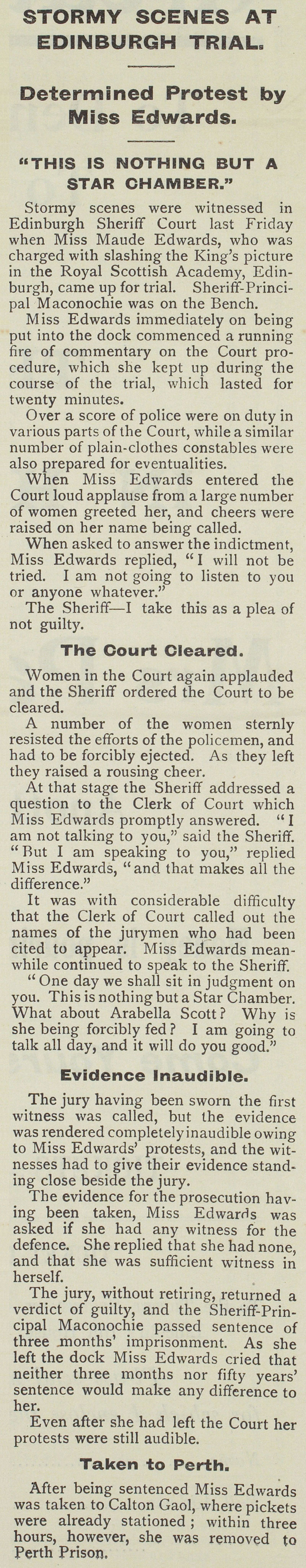 Newspaper report of Maude Edward's trial in Edinburgh, 1914