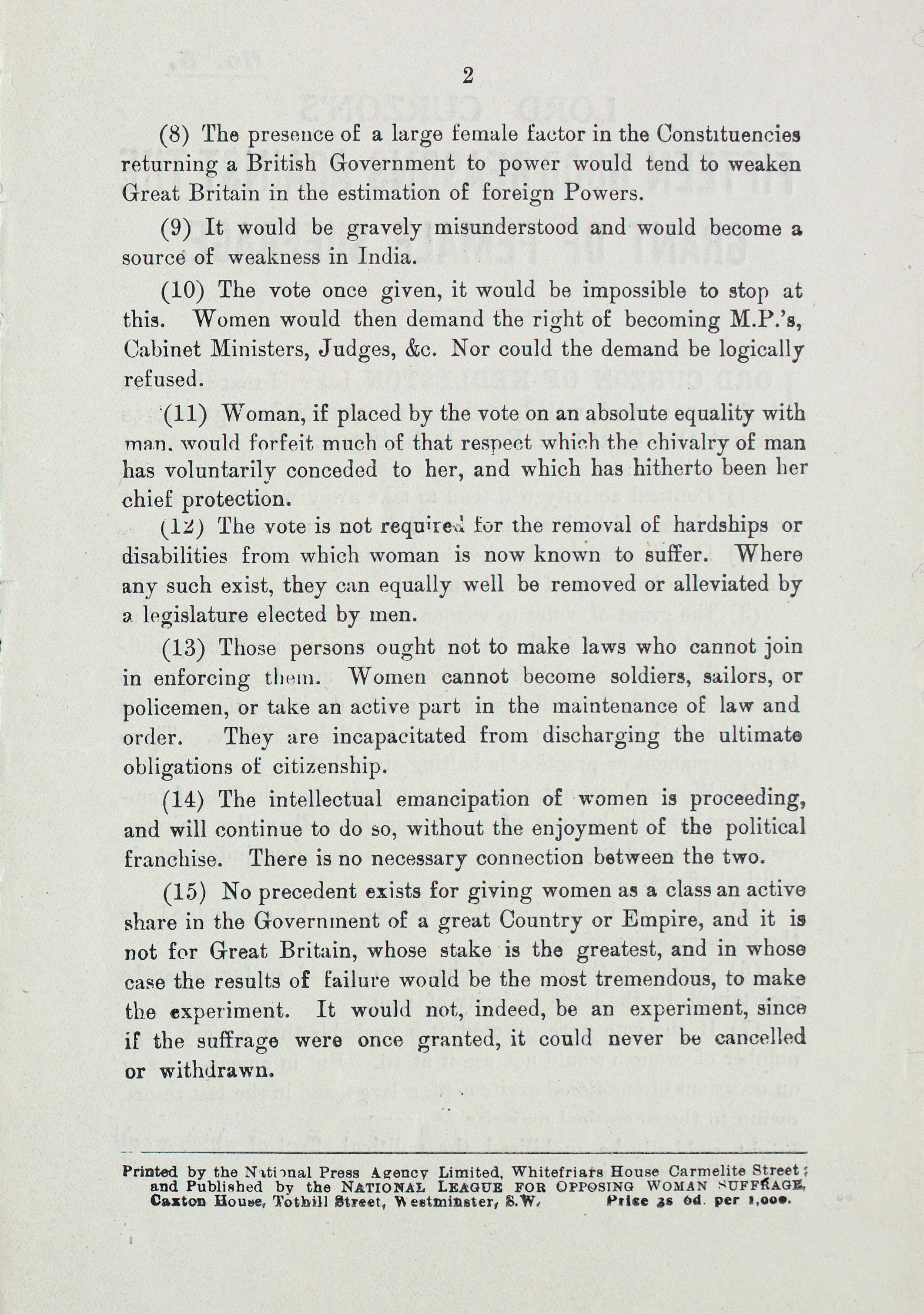 Extract from printed pamphlet outlining arguments against female suffrage