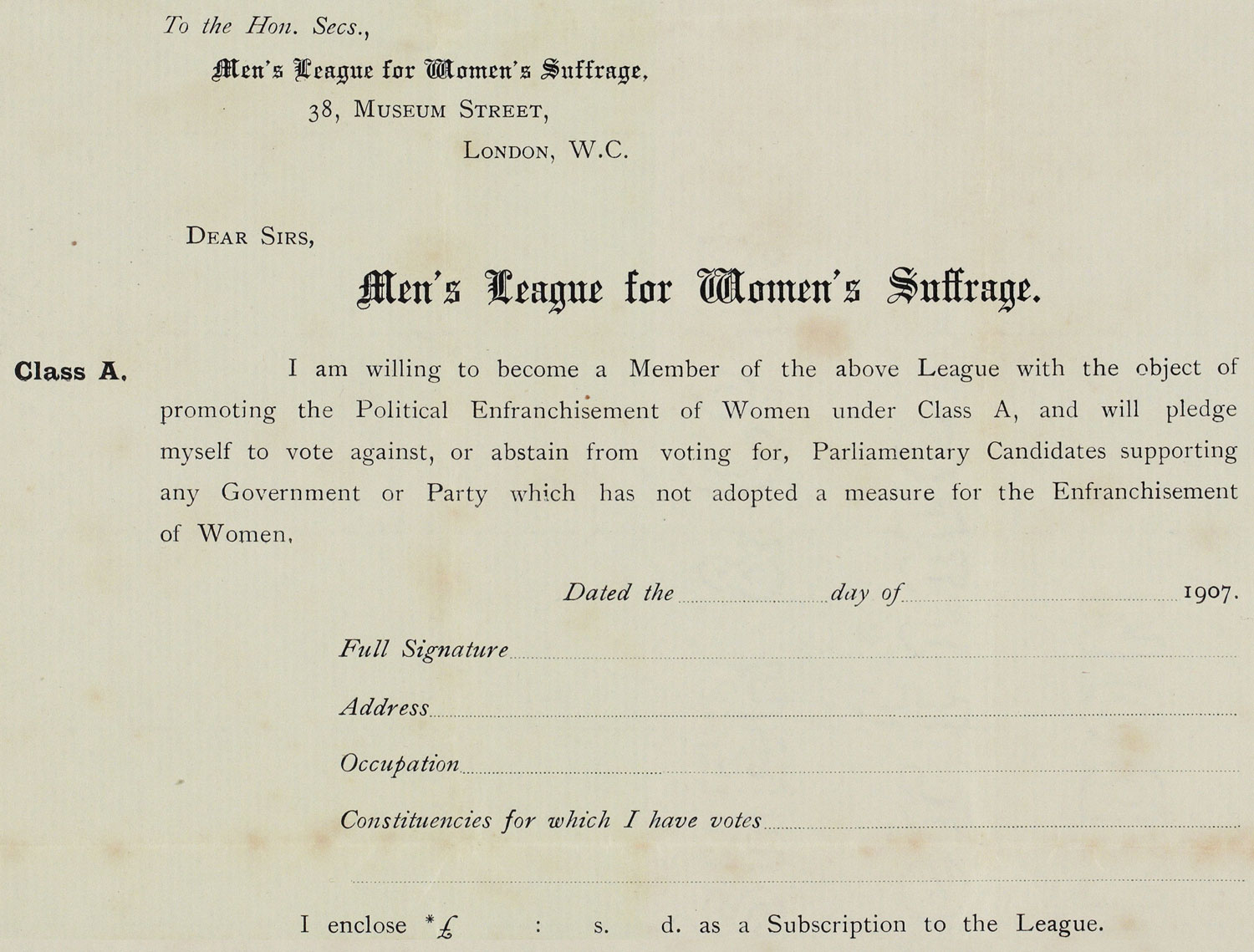 Printed membership form, Men's League for Women's Suffrage