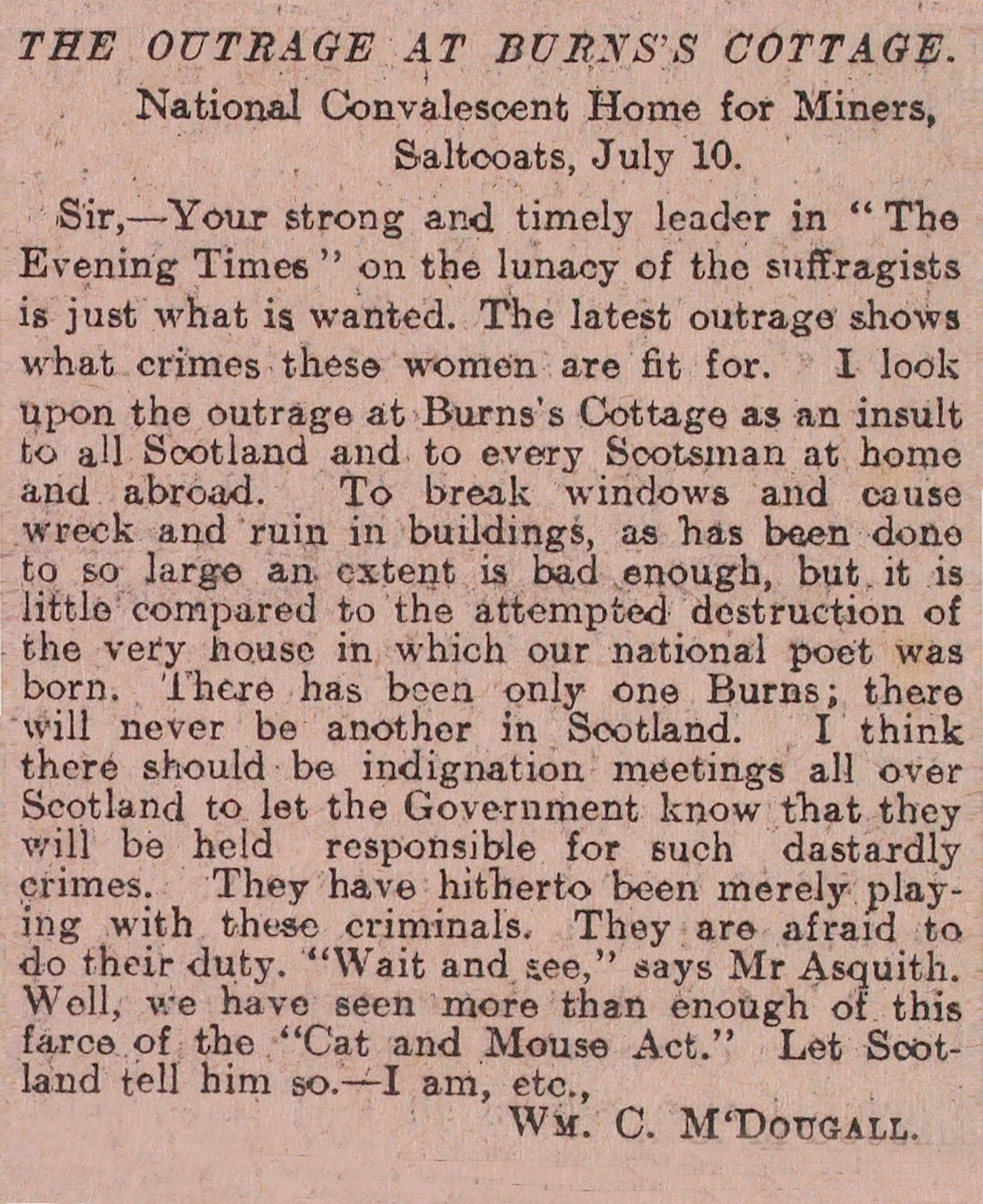 Reader's letter regarding suffrage demonstration at Burns' Cottage