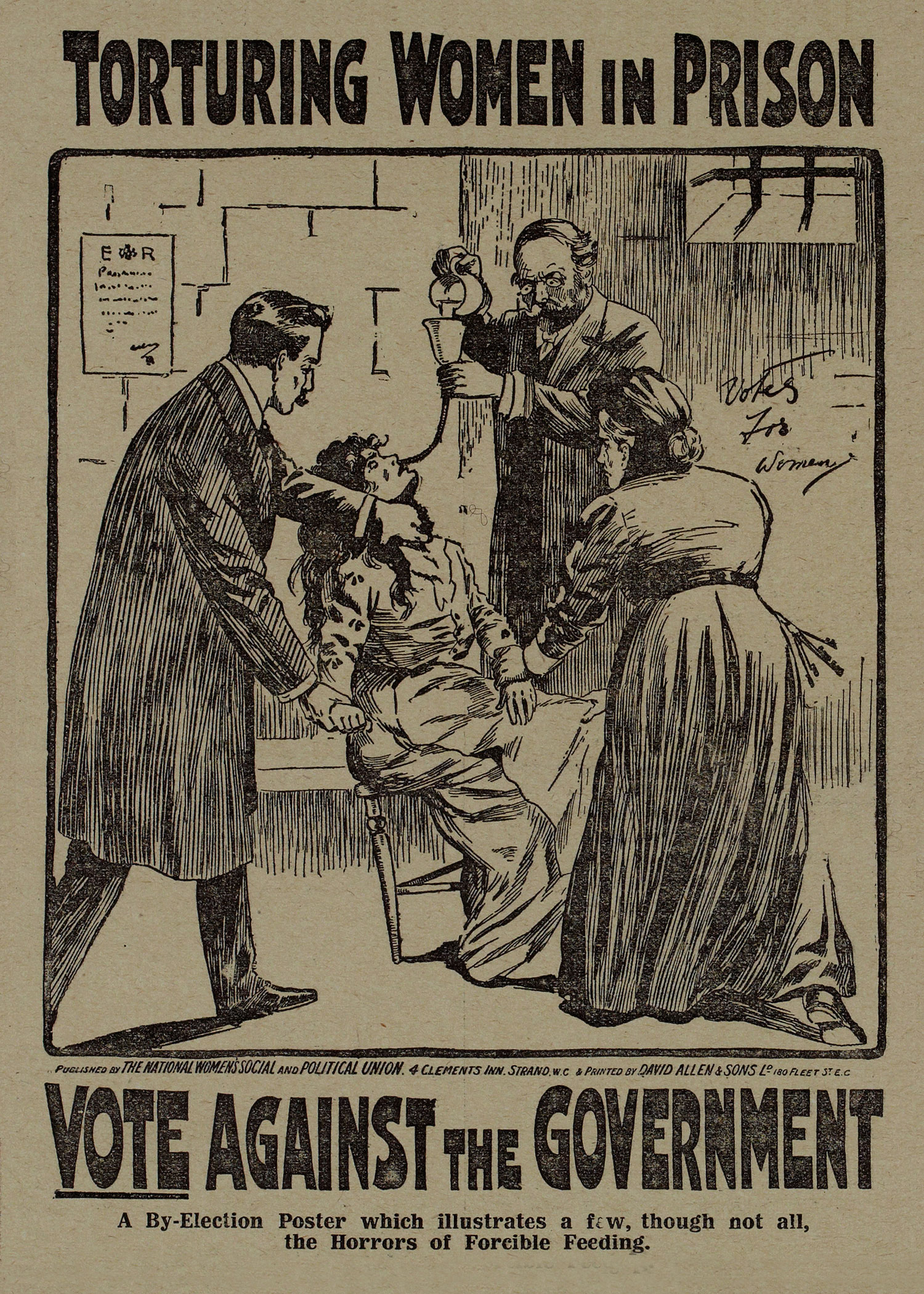 Printed by-election poster featuring image of forced feeding, 1909