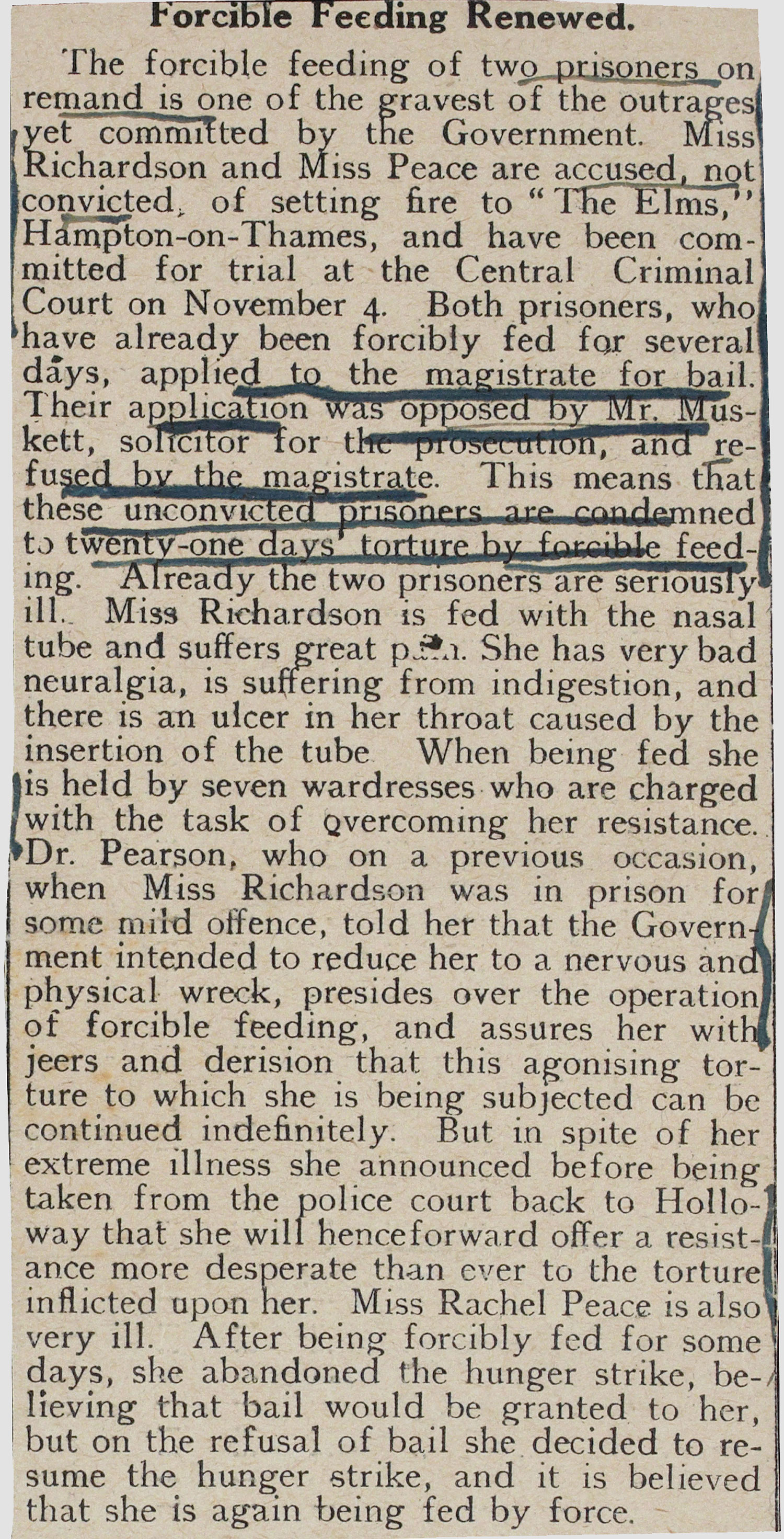 Pre-suffrage newspaper report on the subject of forced feeding, 1913