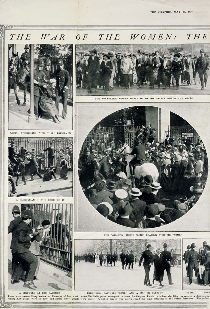 Six printed photos showing a pro-suffrage demonstration, 1914