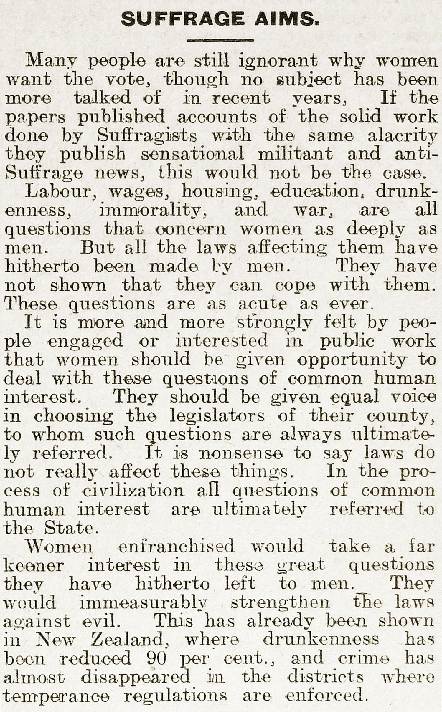 Pro-suffrage newspaper article, Shetland News, 23 March 1912